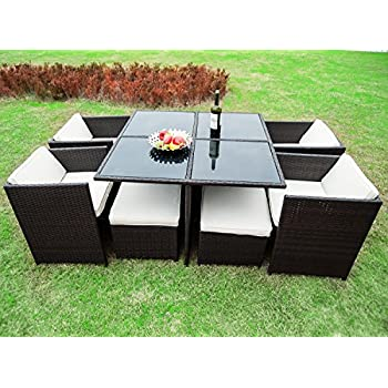 Captivating Merax 9 Piece Outdoor Cube Rattan Garden Furniture Set Wicker Rattan Desk  And Chairs (