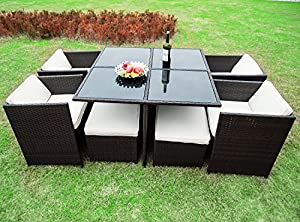 merax 9 piece outdoor cube rattan garden furniture set wicker rattan desk and chairs brown