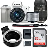 Canon EOS M50 Mirrorless Digital Camera (White) Bundle w/Canon EF-M 15-45mm IS STM & Tamron 70-300mm Di LD Lenses + Auto (EF/EF-S to EF-M) Mount Adapter + Basic Camera Kit