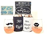 Bridal Shower Gift Bundle includes Mr & Mrs Unbreakable Wine Glasses, Shoe Stickers, Can Coolers and Conversation Starters for Husbands and Wives
