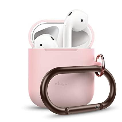 more photos eae39 89f4b elago AirPods Hang Case [Lovely Pink] - [Compatible with Apple AirPods 1 &  2; Front LED Not Visible][Supports Wireless Charging][Extra Protection] ...