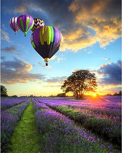 ABEUTY DIY Paint by Numbers for Adults Beginner - Lavender Hot Air Balloon Purple 16x20 inches Number Painting Anti Stress Toys (Wooden Framed) ()