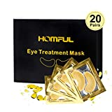 20 Pairs Eye Treatment Mask,24K Gold Collagen Eye Mask,Collagen & Anti-Aging Hyaluronic Acid Under Eye Pads Eye Mask for Dark Circles, Eye Puffiness and Wrinkles