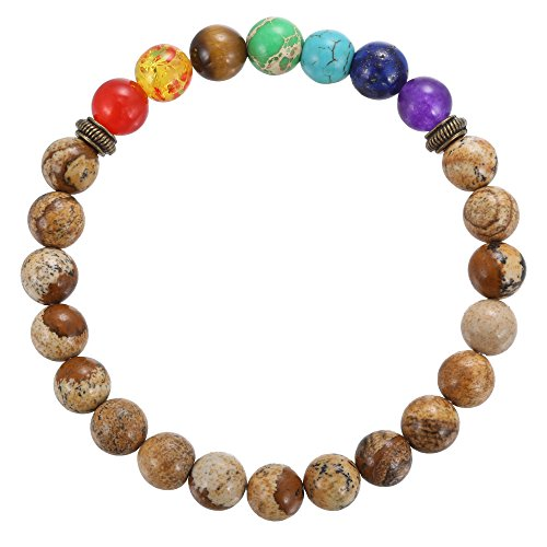 BRCbeads Gemstone Bracelets Picture Jasper Rainbow Enhance Color Natural Birthstone Handmade Healing Power Crystal Beads Elastic Stretch 8mm 7.5 Inch …