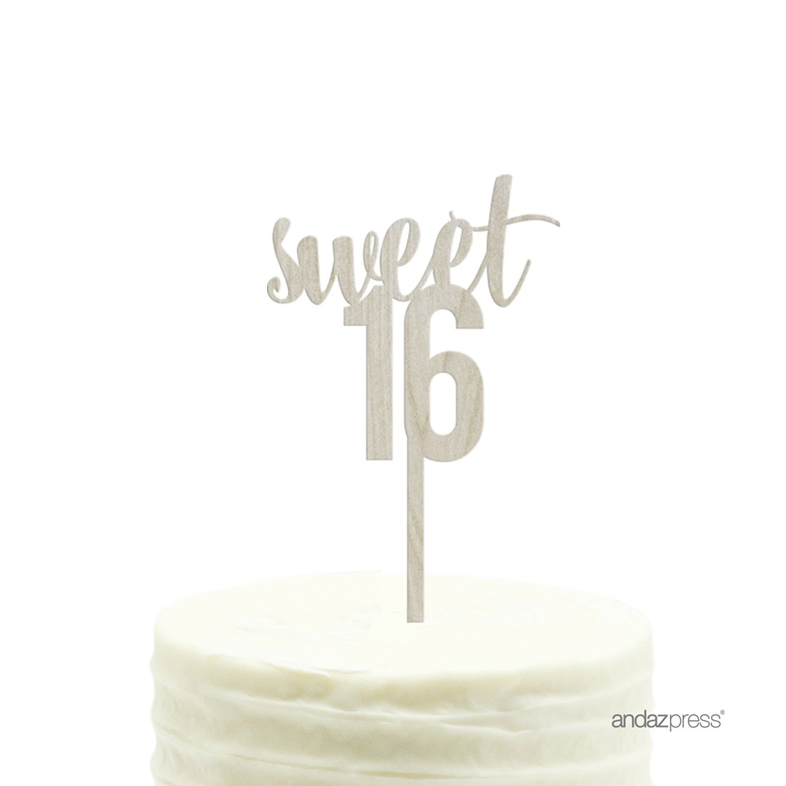Andaz Press Birthday Wood Cake Toppers, Sweet 16, 1-Pack, Decor Decorations