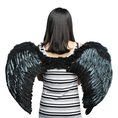 Tongyin Angel Feather Wings Christmas Carol Costume Accessory + Free Head-Ring (XL, Black)]()
