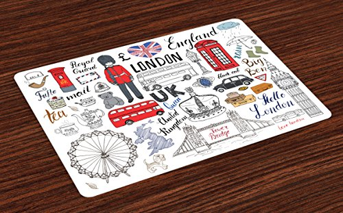Ambesonne Doodle Place Mats Set of 4, I Love London Double Decker Bus Telephone Booth Cab Crown of United Kingdom Big Ben, Washable Fabric Placemats for Dining Room Kitchen Table Decor, Multicolor ()