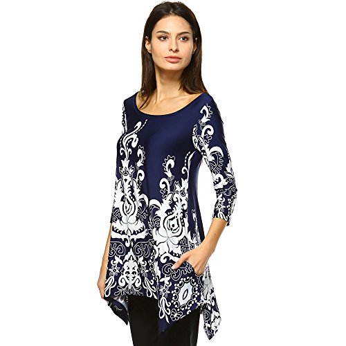 White Mark Women's Yanette Paisley Floral Print Tunic Top XL Navy & White from White Mark