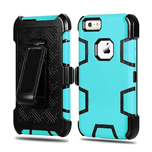 Price comparison product image iPhone 6 Plus Case,  iPhone 6S Plus Case HEAVY DUTY Tough 4 in1 Holster Belt-Clip Heavy Duty Kickstand Shockproof Armor Hybrid Hard Shell for Apple iPhone 6 / 6S Plus (Blue)