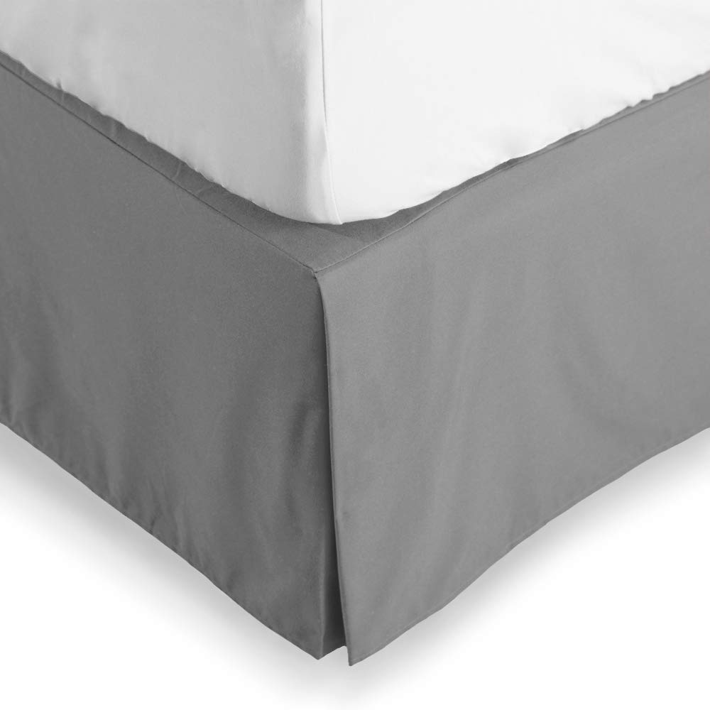 Bare Home Bed Skirt Double Brushed Premium Microfiber, 15-Inch Tailored Drop Pleated Dust Ruffle, 1800 Ultra-Soft, Shrink and Fade Resistant (King, Light Grey)