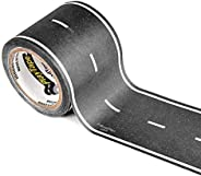 PlayTape Black Road - Road Car Tape Great for Kids, Sticker Roll for Cars Track and Train Sets, Stick to Floor