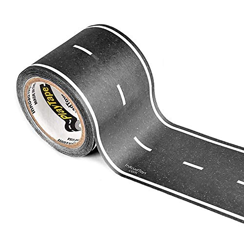 PlayTape Black Road - Road Car Tape Great for Kids, Sticker Roll for Cars Track and Train Sets, Stick to Floors and Walls, Quick Cleanup, Children Toys Birthday Gift (30'x2 - Single Roll, Black) (1 18 Scale Diecast Drag Racing Cars)