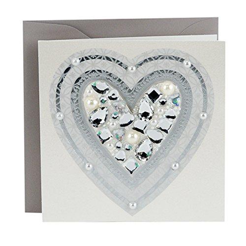 Hallmark Signature Blank Card, Sparkle Heart with Gems (Birthday Card, Thank You Card, Mother's Day Card)