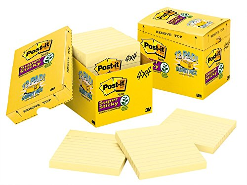 Canary Post - Post-it Super Sticky Notes, 2x Sticking Power, 4 x 4-Inches, Canary Yellow, Lined, 12-Pads/Pack