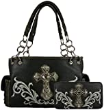 Montana West Purse Set- Satchel Handbag Faux Leather with Rhinestone Cross and Embroider Design Includes Matching Flat Wallet with Checkbook Cover- Available in 4 Colors (Black), Bags Central