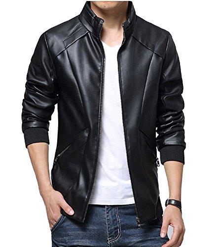 Runyue Chaqueta De Moto Motociclista para Hombre De Cuero De La PU Capa Outwear Cierre De Cremallera Negro