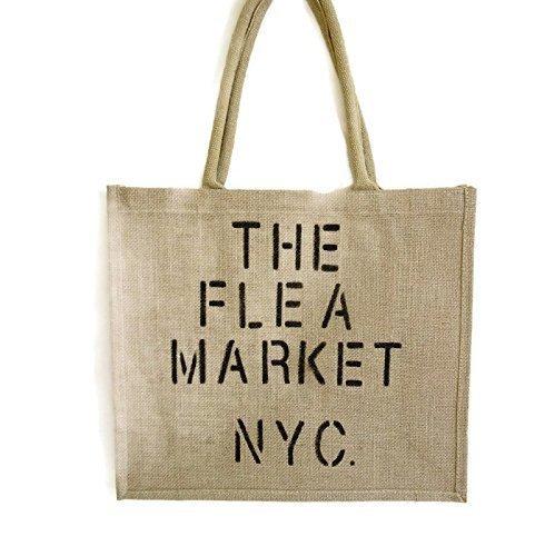 Flea Market Beach Jute Storage Shopping Tote Bag Hand painted NYC