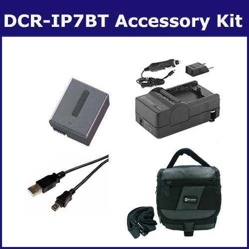 Sony DCR-IP7BT Camcorder Accessory Kit includes: SDM-102 Charger, SDC-27 Case, SDNPFF70 Battery, USB5PIN USB Cable ()