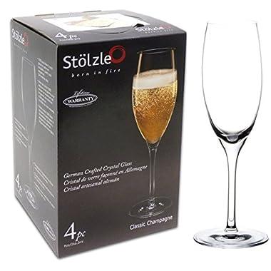 Stolzle 4-Pack Classic Flute Crystalline Set, 9-Ounce, Lead-Free Crystalline