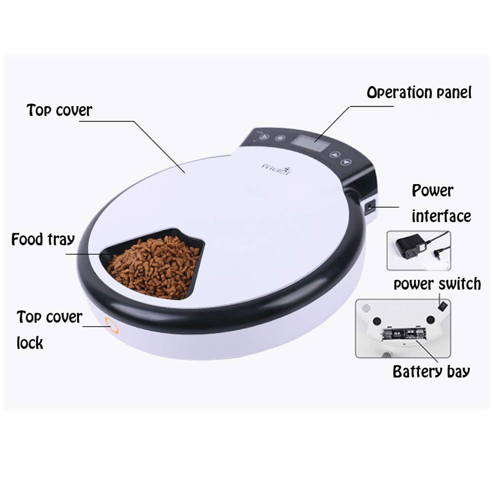 XGPT Alimentador Automático De Mascotas para Perros - Dispensador De Alimentos Secos Y Húmedos con 5 Comidas, 5X240ml, Blanco Y Rosa, Material ABS, ...