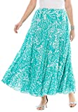 Jessica London Women's Plus Size Cotton Crinkled Maxi Skirt Pretty Jade