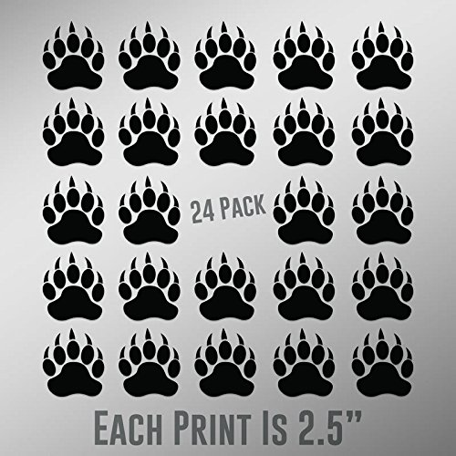 Black Bear Paw Prints - ND027 Bear Paw Prints 24-Pack | 2.5-Inches | Premium Quality Black Vinyl