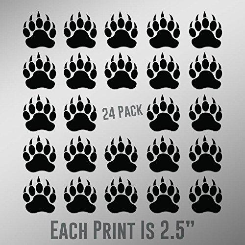 - CMI ND027 Bear Paw Prints 24-Pack | 2.5-Inches | Premium Quality Black Vinyl