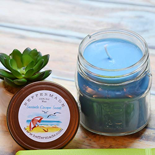 Seaside Escape Candle, Scented Soy Jar Candle, 8 oz ()
