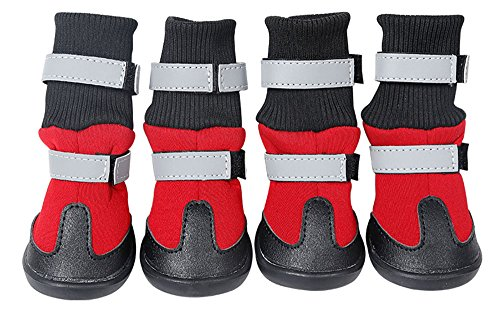 Dog Shoes Waterproof Dog Boots Anti-Slip Snow Boots Warm Paw Protector for Dog in Winter - Red - S