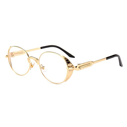 44ab5702cb34 Vintage Steampunk Glasses Men Oval Eyeglasses Women Accessories Gold Metal  Frame (gold with clear)