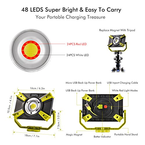 Rechargeable LED Work Light 20W 1600LM SOS Mode 2.1A Fast Charging Magnetic Base Waterproof Spotlights Outdoor Camping Emergency Floodlights For Truck Tractor Workshop Construction Site by XCSOURCE (Image #4)