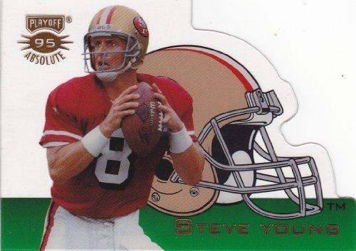 Steve Young 1995 Playoff Absolute Football Insert (Die Cut Helmet) (Preminum Card Technology) (San - 1989 Helmet Football