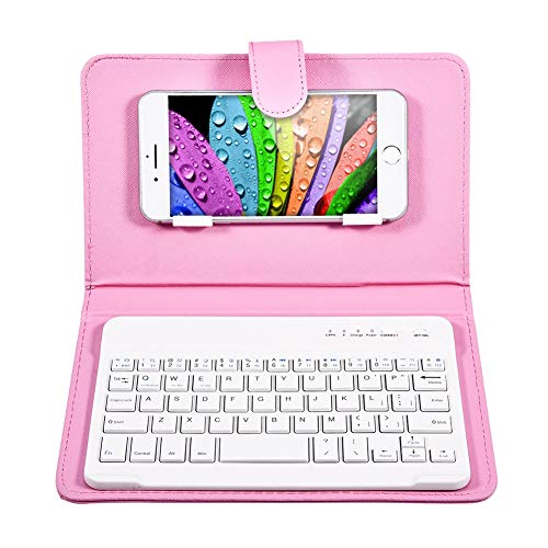 Fosa Wireless Bluetooth Keyboard with Portfolio Flip Leather Case Cover with for 4.5''-6.8'' iOS, Android and Windows Smart Phones(Pink)