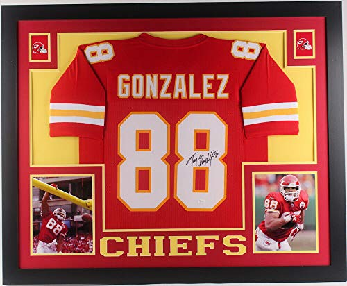 Tony Gonzalez Autographed Signed Memorabilia Kansas City Chiefs 35X43 Custom Framed Jersey - JSA Authentic
