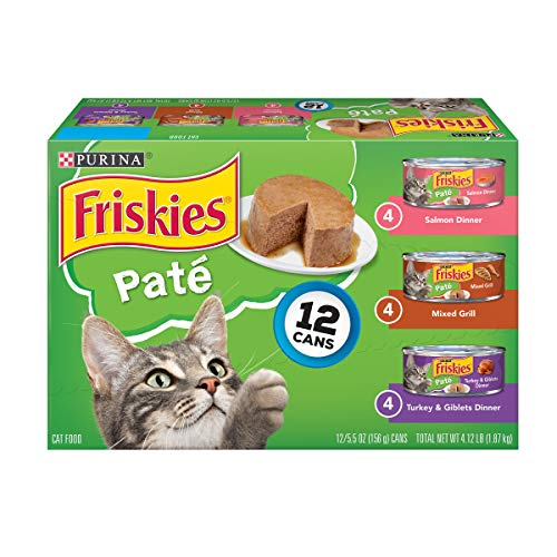 Purina Friskies Pate Wet Cat Food Variety Pack; Salmon, Turkey & Grilled - (2 packs of 12) 5.5 oz. Cans (Meat Platter Cart)