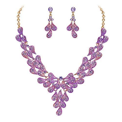 BriLove Costume Fashion Jewelery Set for Women Multi Teardrop Cluster Y-Shaped Necklace Dangle Earrings Purple ()