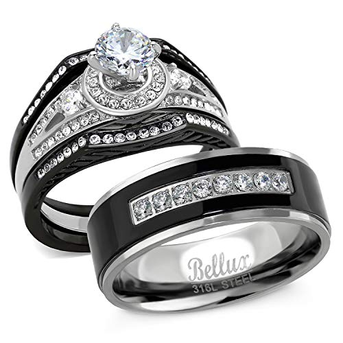 (Bellux Style His and Hers Wedding Ring Sets Stainless Steel CZ Promise Rings for Couples Bridal Set Jewelry (Women's Size 07 & Men's Size 09))
