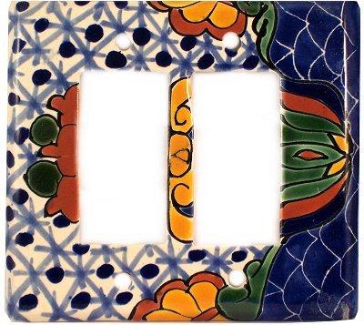 Fine Crafts Imports Double Decora Turtle Talavera Switch Plate