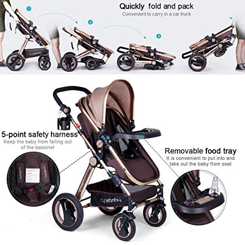 51yTos9C0WL - Infant Baby Stroller For Newborn And Toddler - Cynebaby Convertible Bassinet Stroller Compact Single Baby Carriage Toddler Seat Stroller Luxury Pram Stroller Add Cup Holder Footmuff And Stroller Tray