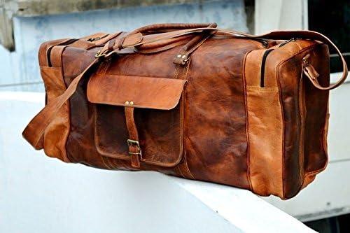 Travel Overnight Weekend Leather Bag 24 Inch Genuine Leather Duffel LYSB06XB9VSBH-OFFSUPPLIES vintage brown Sports Gym Duffel for Men