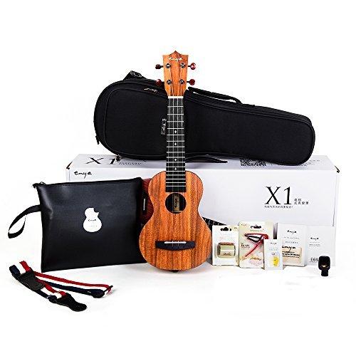 (Official Enya EUS-X1 Soprano Ukulele 21 inch HPL Starter Kit with Online Lessons, Padded Gig bag,String,Tuner,Strap,Capo,Picks,Polishing cloth)