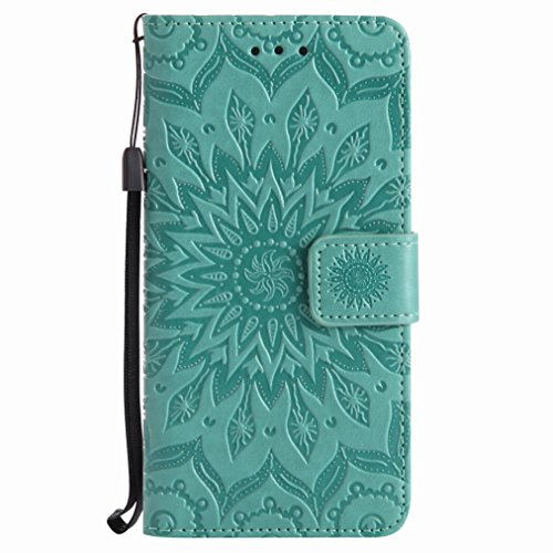 Yiizy Huawei P10 Cover, Sun Petals Design Flip Flap Wallet Case Cover Housing Premium Pu Leather Cover Protective Shell Bumper Case Shell Skin Slim Stand Style Slot Cards (green)
