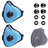 Unigear Dust Mask 2 Activated Carbon Filters- N95 Respiratory Protection Anti Pollution, Exhaust Gas, Pollen Allergy, PM2.5, Woodworking,Running, Cycling Survival (Blue 2 Packs)