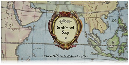 Caswell-Massey Triple Milled Luxury Bath Soap Woodgrain Boxed Set - Sandalwood Fragrance - 5.8 Ounces Each, 3 Bars