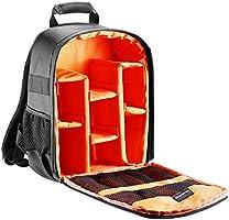 Neewer Mochila para cámara flexible acolchada con separadores con protector antigolpes, para cámaras SLR y otros accesorios, interior naranja