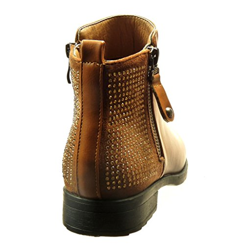 5 Mode diamant cavalier Angkorly Talon femme strass bloc CM 2 Chaussure fermeture zip Bottine HqUU57W