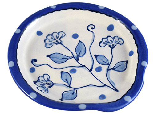 American Made Terracotta Pottery Kitchen Spoon Rest, Delft-Style Wildflower Blue ()