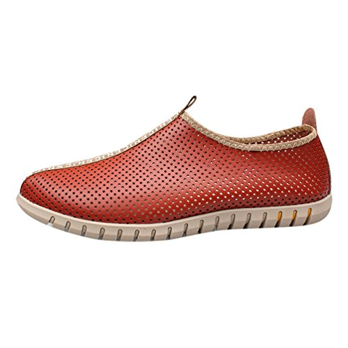Baymate Hombres Cómodas Loafer Respirable PU Verano Calzado Al Aire Libre Naranja