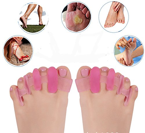 Miss S Efficient&Soft Toes Separators Toe Spacers Pedicure Bunion Toes Corrector Straightener Heel Protectors for Girls Women (Pink,5 toes) by Miss S (Image #2)