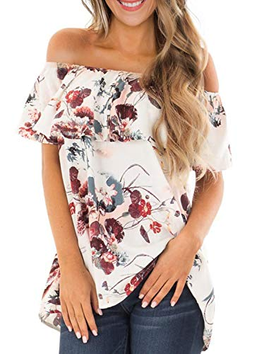 Asvivid Womens Ruffles Tube Strapless Off The Shoulder Ladies Bohemian Floral Printed Blouses Plus Size 1X White